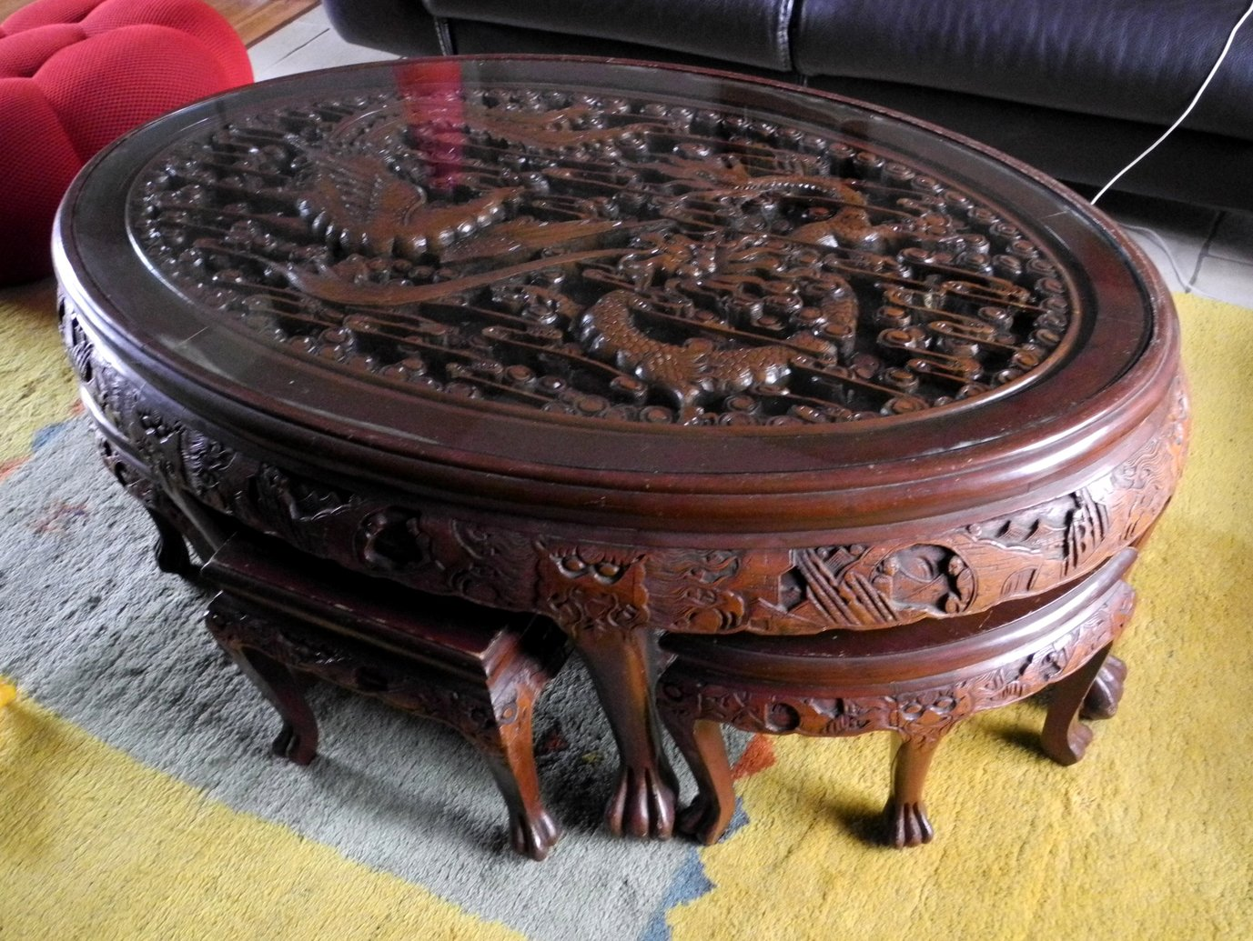 Table ovale chinoise avant relooking